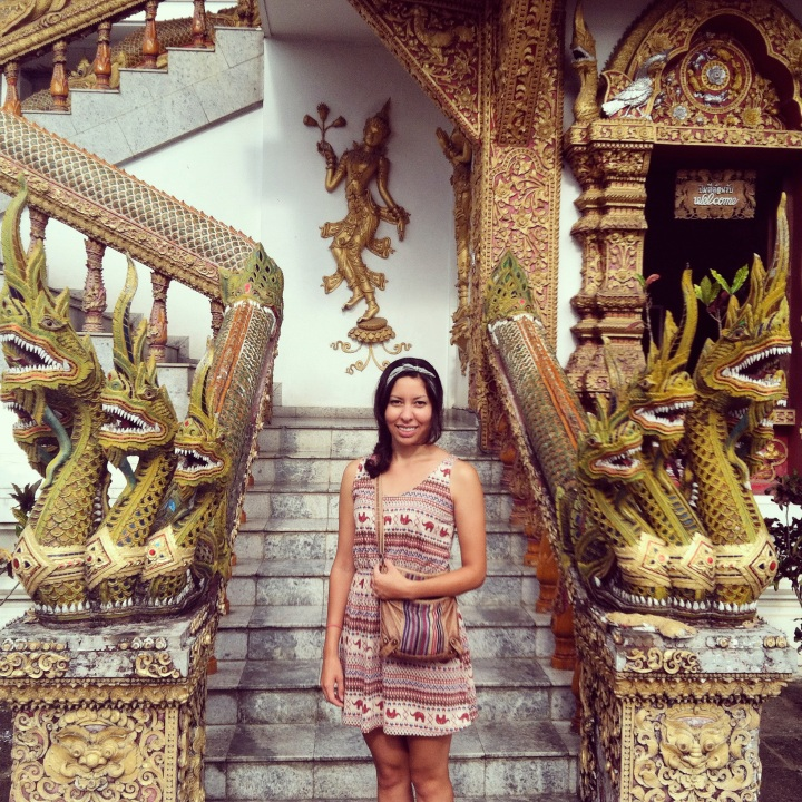 Visiting a temple in Chiang Mai.