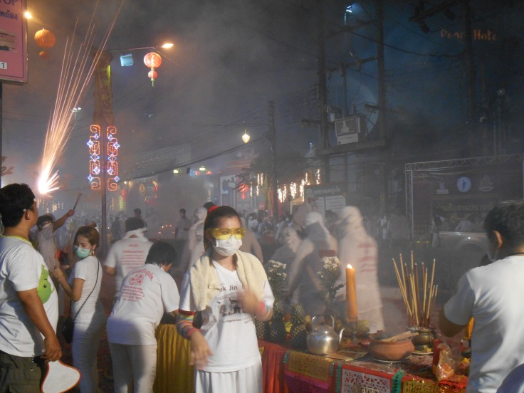 Scene captured during the Phuket Town Vegetarian Festival celebrations.