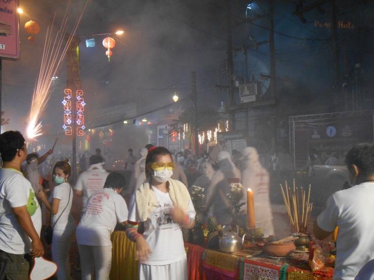 Scene captured during the Phuket Town Vegetarian Festival celebrations.
